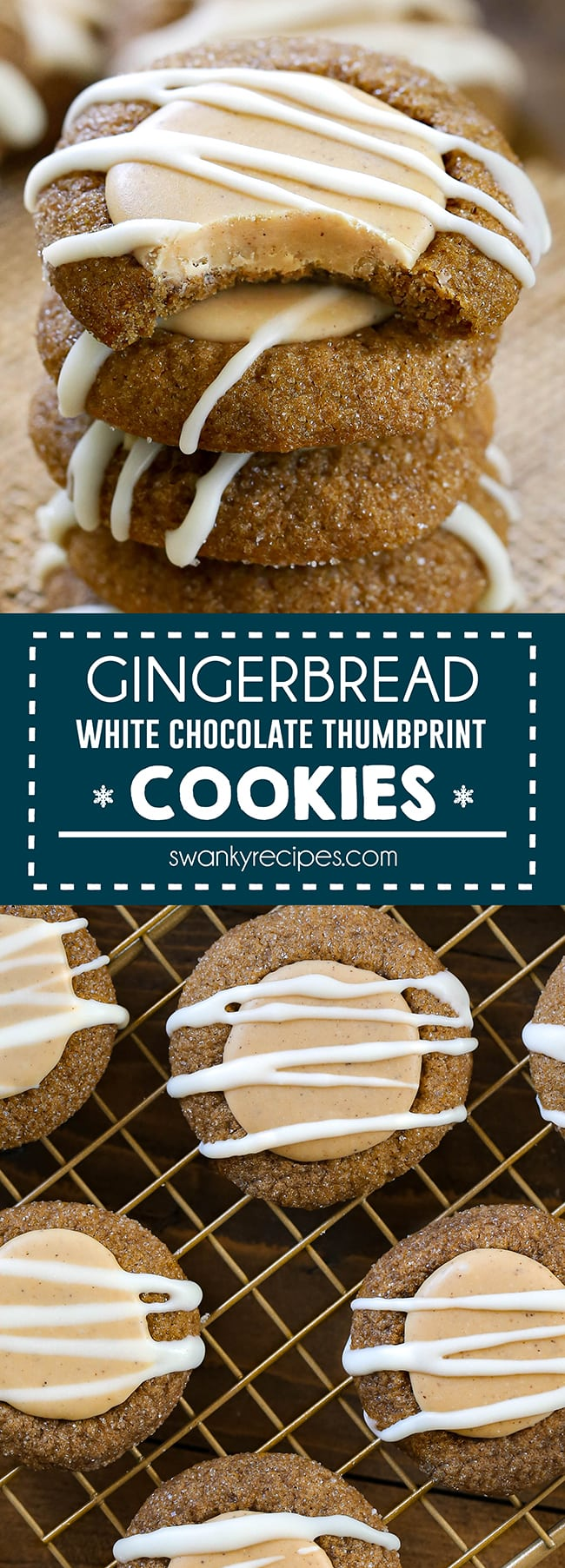 Gingerbread Thumbprint Cookies with White Chocolate - brown gingerbread cookies stacked on a burlap piece. Cookies have a thumbprint size white chocolate center with white chocolate drizzle. Text in center reads gingerbread white chocolate thumbprint cookies. 2nd image is an overhead photo of gingerbread cookies on a gold cooling rack with a wooden board.