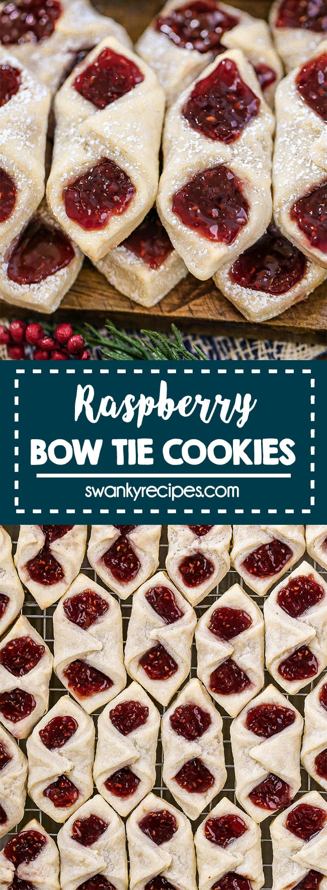 Raspberry Bow Tie Cookies - A horizontal wooden board fitted with 2 rows of bow tie cookies. Red raspberry fruit jam filled into each cavity with dough pinched in the center. Served on a wooden board with blue and white burlap, fake green christmas tree branch and fake cranberries. Text in center reads Raspberry Bow Tie Cookies in blue boarder. Second image is an overhead view of the bow tie cookies on a cooling rack in row after row.
