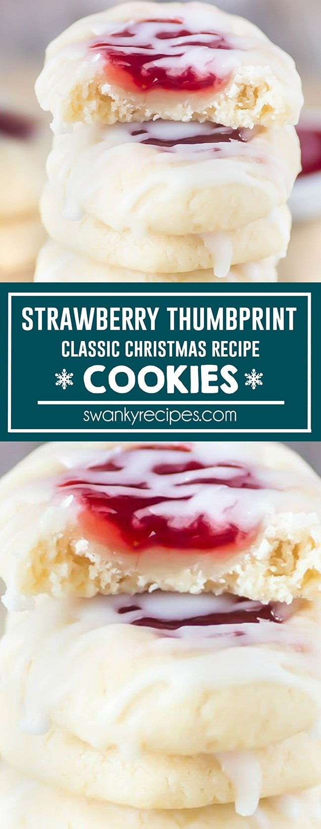 Classic Strawberry Thumbprint Cookies - Buttery thumbprint cookies stacked and filled with strawberry jam and glazed. text in center reads strawberry thumbprint classic christmas recipe cookies in blue boarder. Second image is a closer up photo of first.