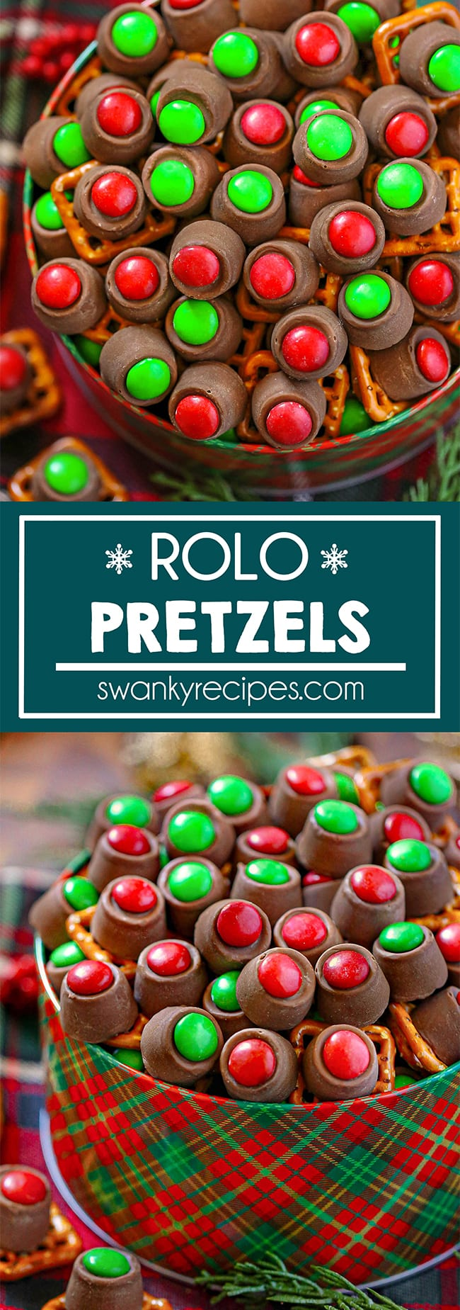 Easy Rolo Pretzels - Same as first photo, but cropped very close to include the bottom half the tin full with rolo pretzels.. Overhead view of a red and green Christmas pattern on a tin filled to the brim with rolo candy pieces. Red and green M&Ms topped on a rolo candy piece with a square pretzel. Served on a red and green Text in center reads Rolo Pretzels in blue and white. Second image A front view of Rolo pretzels with a red/green M&M on top of a rolo candy pieces and pretzel square. Served in a red and green striped holiday tin on a wooden back drop with a Christmas color napkin and a fake green spruce tree twig.