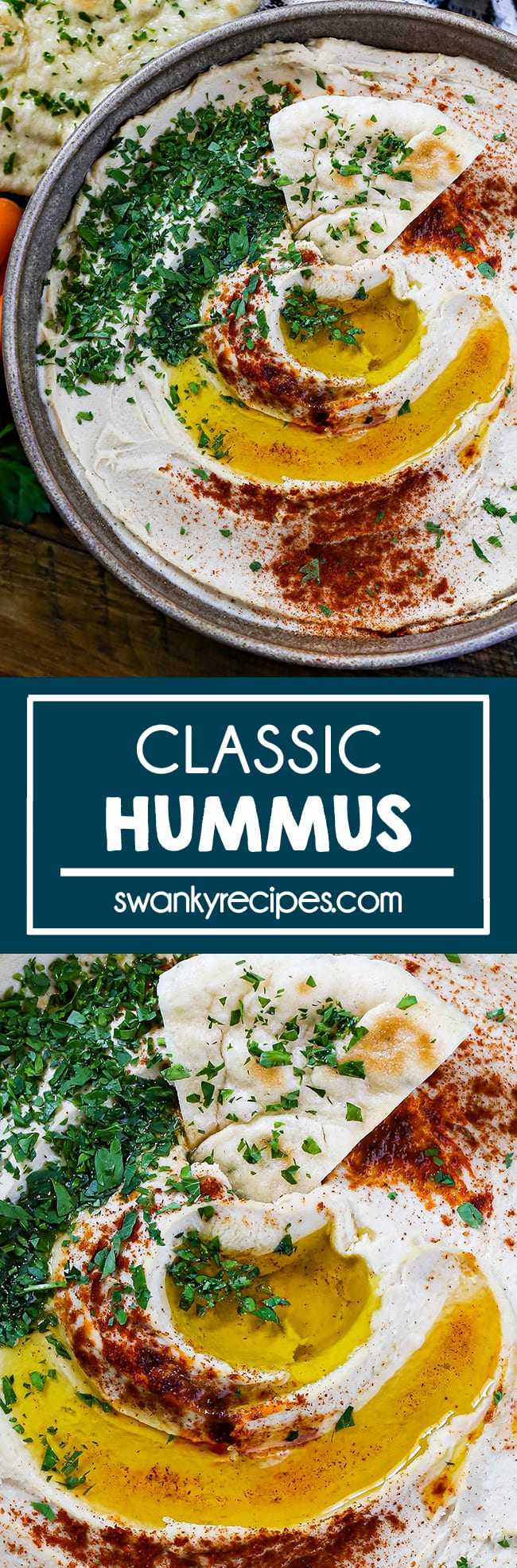 Classic Hummus - A pottery bowl filled with creamy hummus. Garnished with olive oil, paprika, and chopped green parsley. Served with a slice of naan on a wooden tray with carrots, naan, and a white napkin.