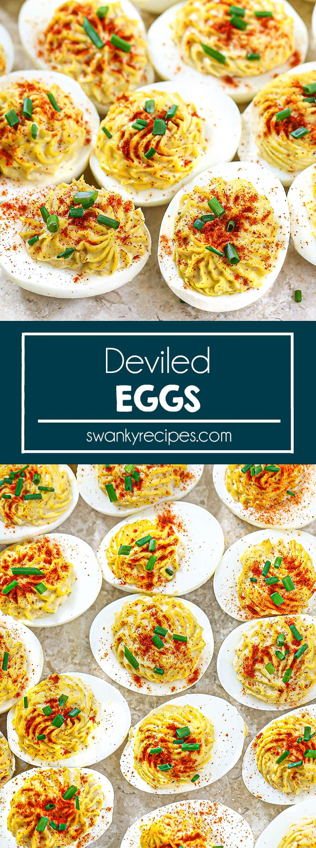 Deviled Eggs - Deviled eggs on a marble pastry board. Egg whites cut in half lengthwise and filled with a delicious creamy filling. Topped with paprika and chives. Text in center reads Deviled Eggs. Second image is an overhead view of deviled eggs in a few rows on a pastry board.