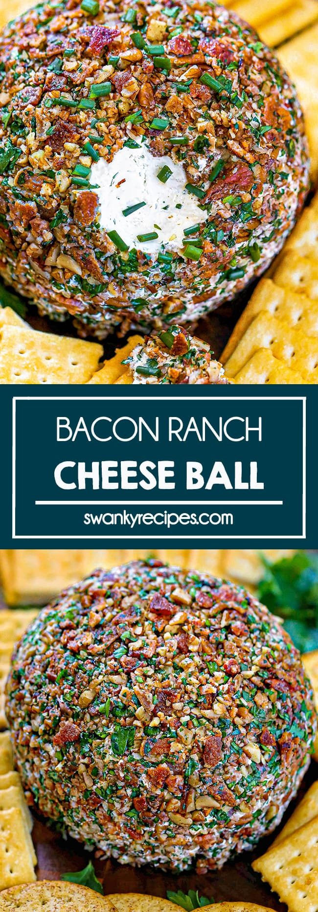 Bacon Ranch Cheese Ball - A giant cream cheese ball rolled in pecans, chopped bacon, green onions, and parsley. Surrounded by yellow butter crackers. text in center reads bacon ranch cheese ball. Second image features the entire cheese ball with a variety of crackers on a wooden board.