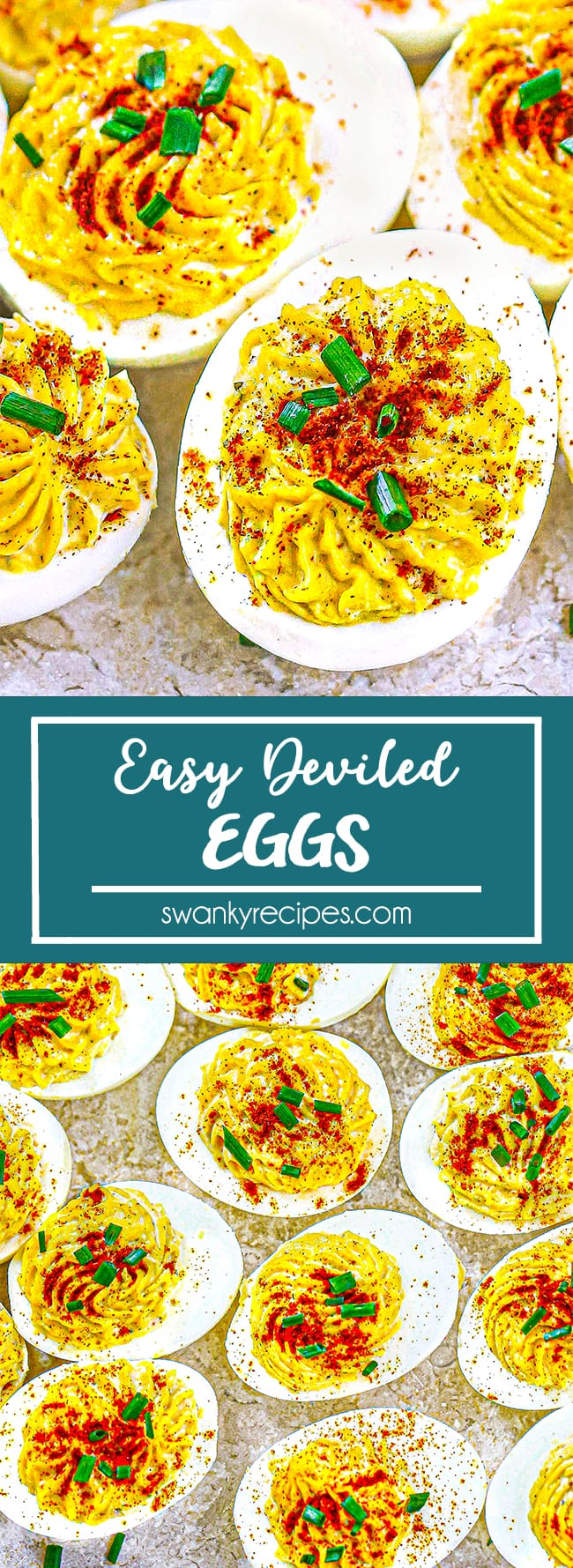 Deviled Eggs - Deviled eggs on a marble pastry board. Egg whites cut in half lengthwise and filled with a delicious creamy filling. Topped with paprika and chives.
