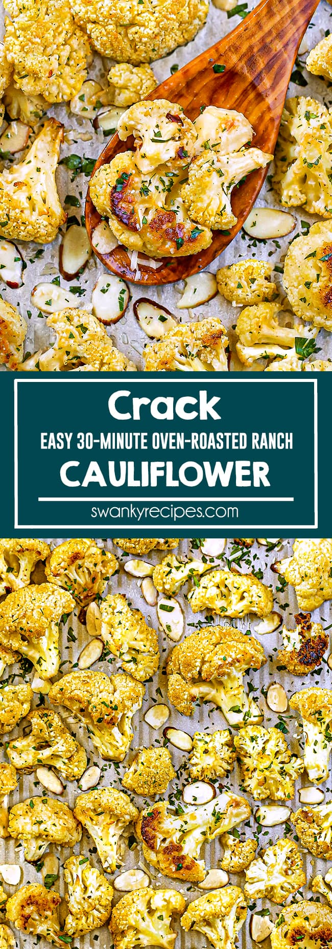 Crack Cauliflower - A cropped image of cauliflower florets served on a sheet pan with a wooden spoon in the center, sliced almonds and parsley.