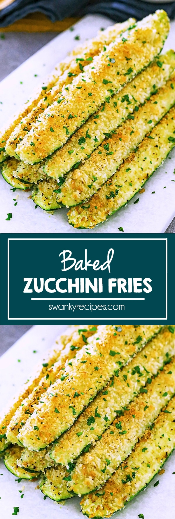 Baked Zucchini Sticks - zucchini sticks with a golden brown panko topping and parsley. Served on a marble platter. Text in center reads, baked zucchini fries. Second image is the same as first one, but a close up image view and crop.