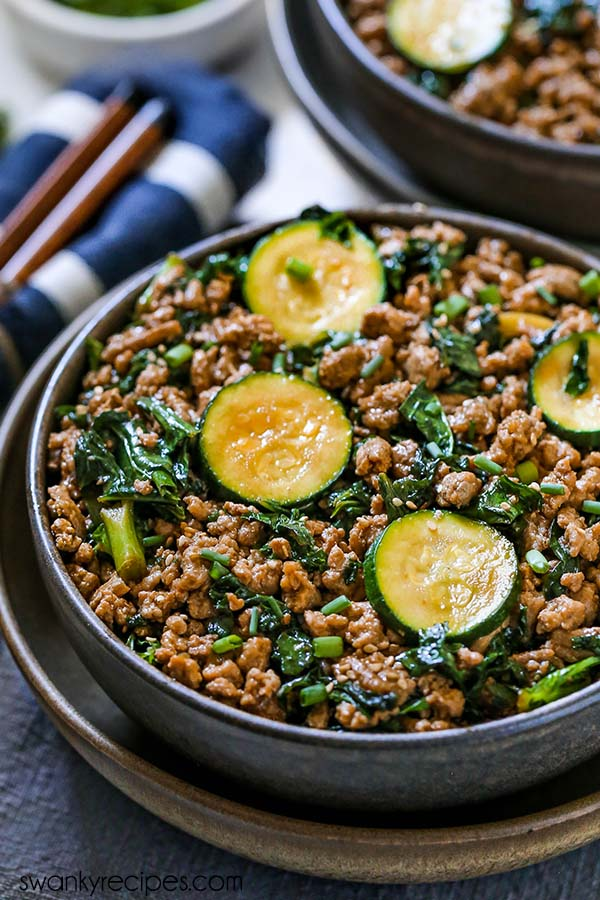Teriyaki Turkey Bowls - Ground turkey served in a bowl with zucchini slices, chopped kale, and diced green onions.