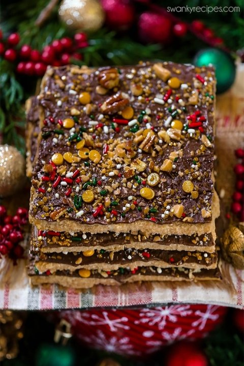 Christmas Crack Best Saltine Cracker Toffee Candy Swanky Recipes